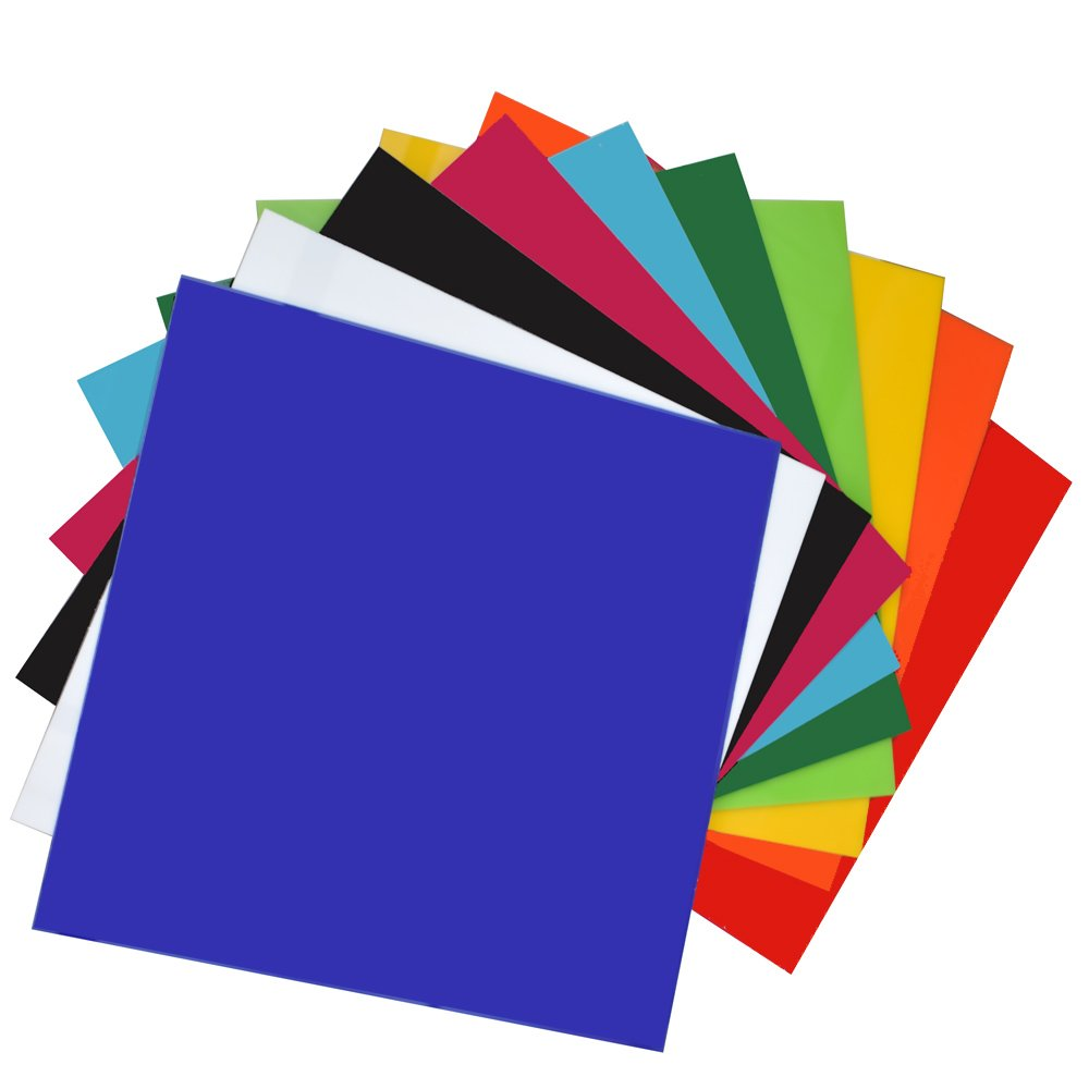 XLNT 10 Pieces & 10 Colored Acrylic Plastic Sheet 12 x 12 Inch (.118'' Thick)(no-Transparent, For Signs, DIY Projects