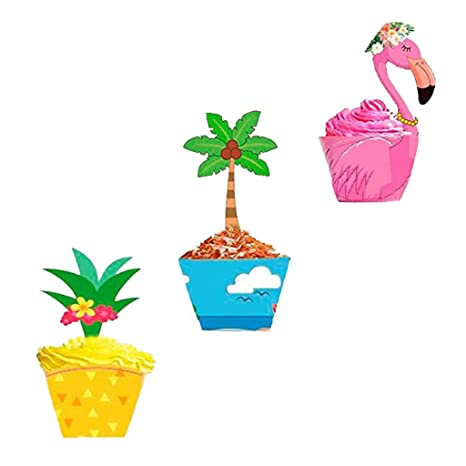 Tumao 24 Sets Cupcake Topper Wrapper Metable Cupcake Wraps Liner Baking Cup Tropical Hawaiian Pool Party