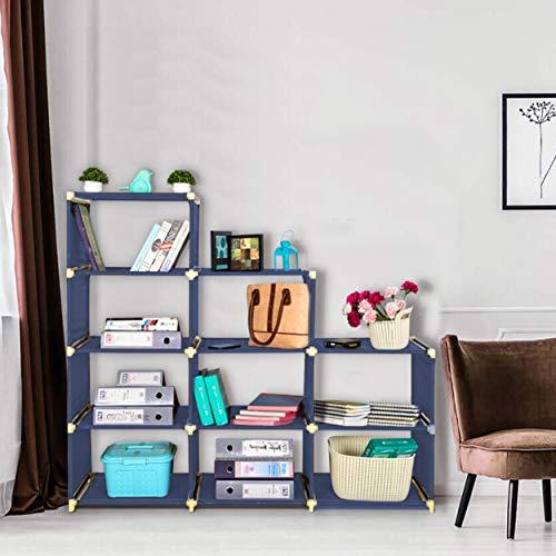 FOLDDON Multipurpose Metal 12 Shelves Open Book Shelf  Navy Blue