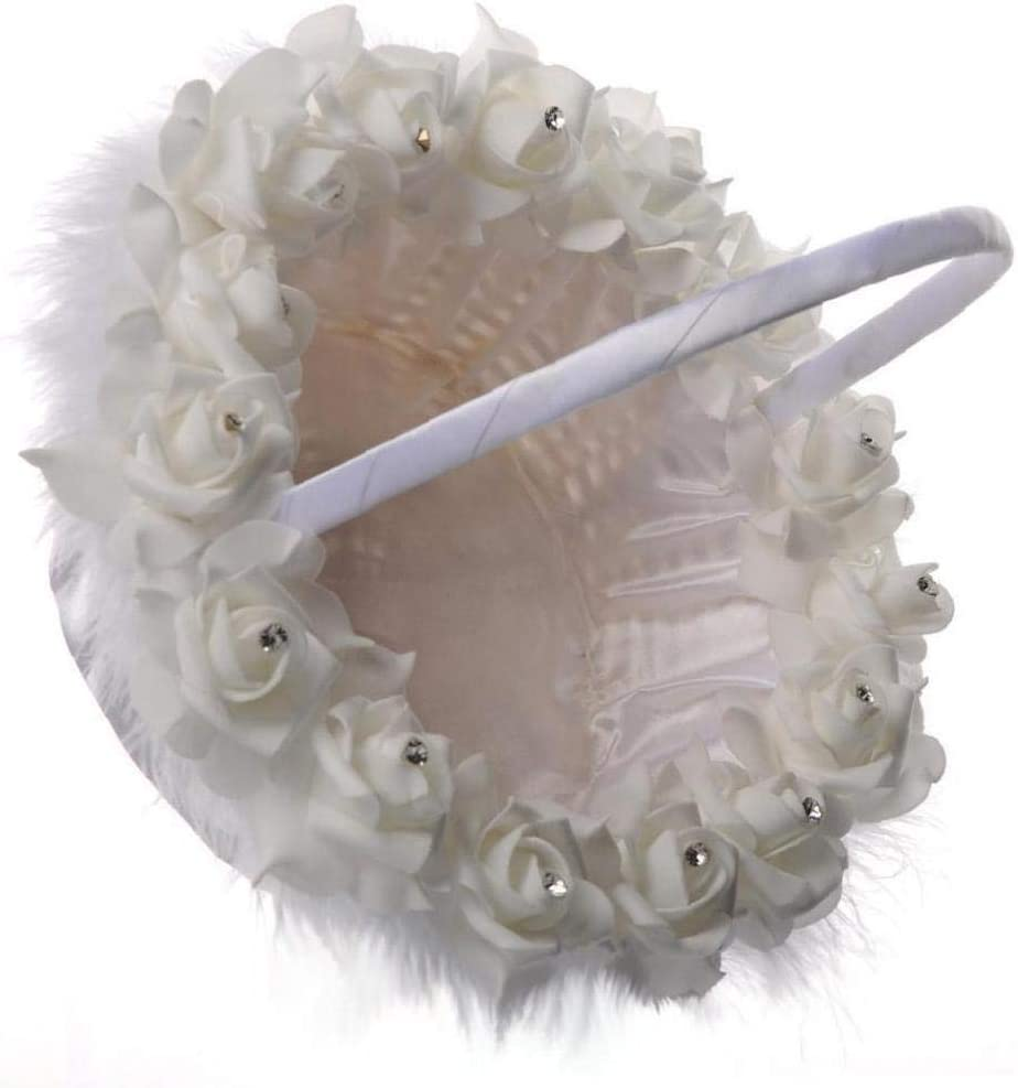 Naisicore Quality Home Flower Girl Baskets Bowknot Basket Romantic Silk Cloth Wedding Ceremony Party Lace Flowers Girl Wedding Basket White