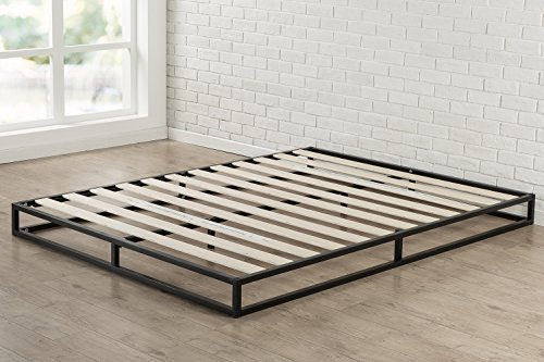 Zinus Joseph 6 Inch Metal Platforma Bed Frame / Mattress Foundation / Wood Slat Support / No Box Spring Needed / Sturdy Steel Structure, Full - 6 inch low profile foundation supports memory foam, Spring, and Hybrid mattresses Use with or without a box Spring to personalize your mattress Height, mattress sold separately Strong Steel frame structure with wood slats prevents sagging and increases mattress life - bedroom-furniture, bedroom, bed-frames - 514gMpwsYqL -