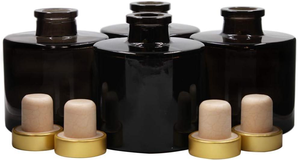 Frandy House - Juego de 4 botellas difusoras de vidrio con tapón de corcho dorado, 100 ml, color negro Fragrance Accessories - Juego de difusor de varillas de repuesto para bricolaje