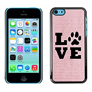 X-ray Impreso colorido protector duro espalda Funda piel de Shell para Apple iPhone 5C - Live Love Pet Dog Canine Pink Text Paw