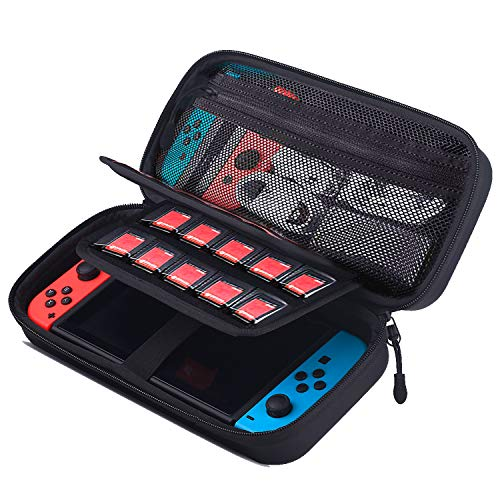 Carrying Case for Nintendo Switch, with 20 Game Cartridge Deluxe Protective Portable Travel Carry Case, Dual Protection Large Capacity Pouch Bag for Nintendo Switch Console & Accessories