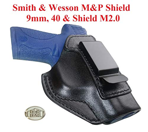 IWB Gun Holster Fits Smith & Wesson M&P Shield & Shield 2.0 9MM/.40 S&W Inside Waistband Concealed Carry Italian Leather ()