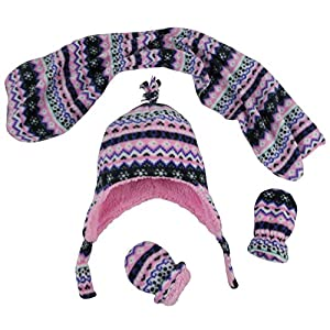 N'Ice Caps Girls and Baby Fair Isle Print Fleece Hat/Scarf/Mitten Set