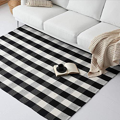 Ukeler Cotton Rug Hand-Woven Checkered Carpet Braided Kitchen Mat Black and White Floor Rugs Living Room Area Rug, 47.3''x70.8''