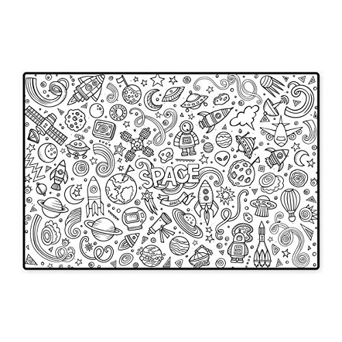 Boys Bath Mats Carpet Astro Sketch Abstract Planets in Doodle Drawing Style Childrens Cartoon Composition Customize Door mats for Home Mat 24