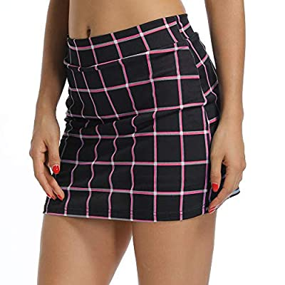 Gooket Women's Anytime Active with Underneath Shorts Skorts Checked Lightweight Quick Dry Workout with Pocket Skirt at Women's Clothing store