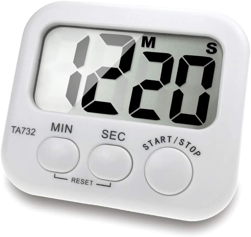 Borminy Digital Kitchen Timer, Large Screen Large Font Display, Magnetic Back Cooking Timer, Loud Alarm, Bracket, Simple Operation, White (Battery Included)