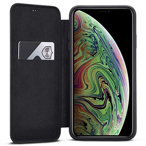 iPhone Xs Max Flip Case Black - CASEZA Dublin PU Leather Case - Premium Vegan Leather Wallet Book Folio Cover for The Original iPhone Xs Max / 10S Max (6.5 inch) - Ultra Thin with Magnetic Closure