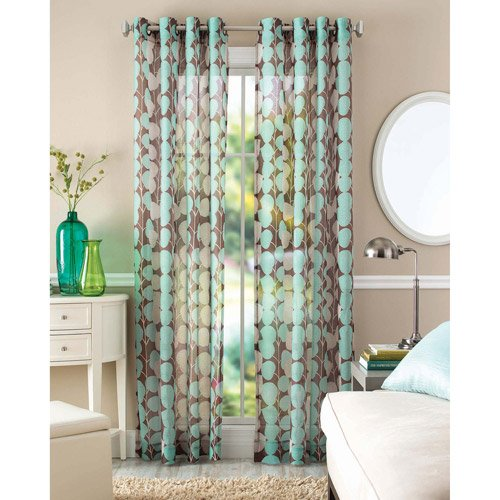 Better Home And Gardens Blue Vine Leaf Sheer Window Panel