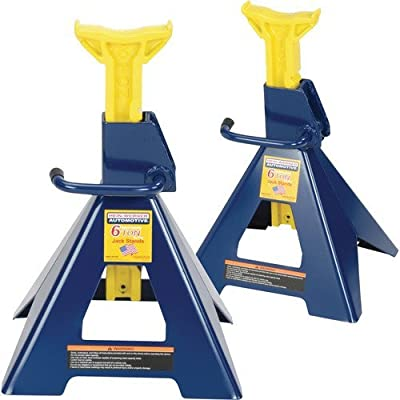 Hein-Werner HW93506 Blue/Yellow Jack Stands, 6 Ton Capacity (Set of 2)