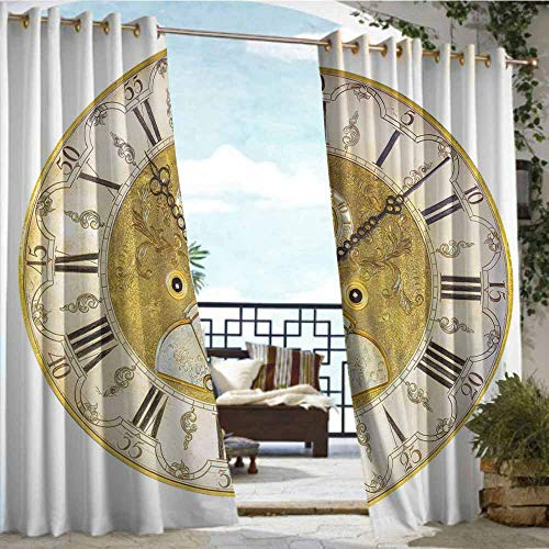 Outdoor Curtain Panel for Patio,Clock,Vintage Theme A Seventeenth Century Ornamental Clock Face with Roman Numbers,Gold and Black,Waterproof Patio Door Panel63 x63 inch