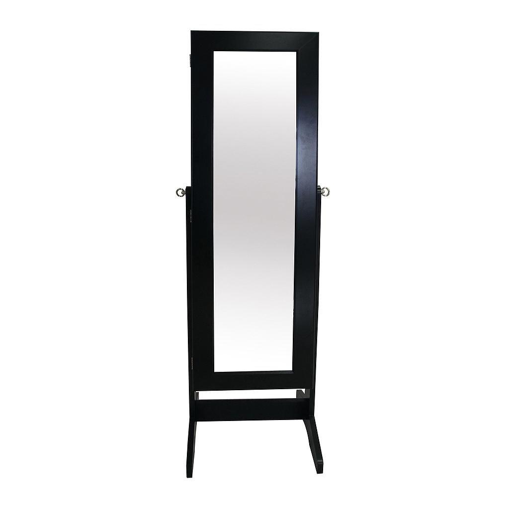 Todeco - Mueble para Joyas con Espejo, Organizador con Espejo, Soporte de Suelo, Material: MDF, Negro, Tamaño del Espejo: 1086 x 255 x 3 mm - 120 x 38 x 9 cm