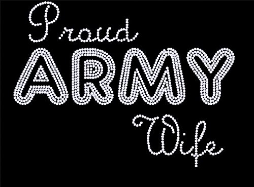 Proud Army Wife Rhinestone Iron on Transfer ()