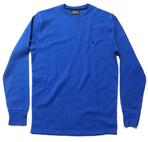 Mens Waffle Knit Tees - Polo Ralph Lauren Men's Crew Neck Long-sleeved Waffle Knit T-shirt Thermal - Small, Royal Blue