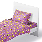 Emoji Bed Set Twin Chital Twin Bed Sheets for Girls | 3 Pc Colorful Kids Bedding Set | Purple Emoji Print | Durable Super-Soft, Double-Brushed Microfiber | 1 Flat & 1 Fitted Sheet, 1 Pillow Case | 15