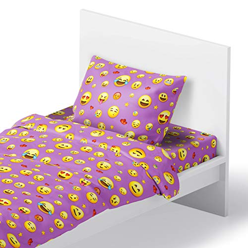 Chital Twin Linen Sheet Set - Cute Emoji Print - Flat & Fitted Sheets with 1 Pillowcase for Kids Boy Girl & Teens - Supper Soft Microfiber - Fits Bed Size: 39 x 75 x 15 inches Deep (Purple)