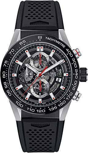 (TAG Heuer Carrera Men's Watch Skeleton Dial w/ Black Rubber Strap)