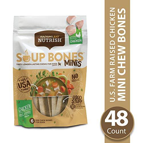 Rachael Ray Nutrish Soup Bones Minis Longer Lasting Dog Treats, Chicken & Veggies, 6 Bones (Pack of 8)
