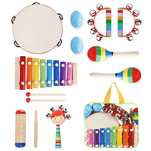 YISSVIC Kids Musical Instruments 12Pcs Toddler Musical Instruments Xylophone Tambourine Set Preschool Educational Toy with Carrying Bag