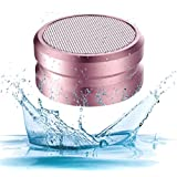 Waterproof Bluetooth Speaker, Mosquito Repellent Bluetooth Speakers for Home Beach Shower Travel Hiking Camping Sport, AUX TF Card FM MP3 Player TWS Wireless Mini Portable Metal Speaker (Pink)
