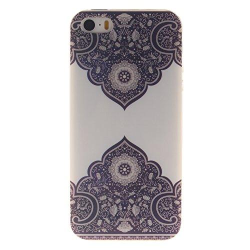 Custodia iPhone 5 5S SE , LH Diagonale Totem TPU Silicone Cristallo Morbido Case Cover Custodie per Apple iPhone 5 5S SE
