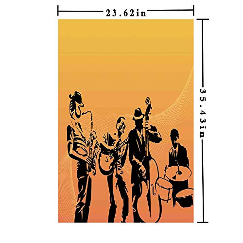 Removable Static Decorative Privacy Window Films 3D Printed, Silhouette of Jazz Quartet Performing on Stage Acoustic Passion Old Style Art Both Suitable for Home and Office, 23.62 x 35.43 inch,Musta