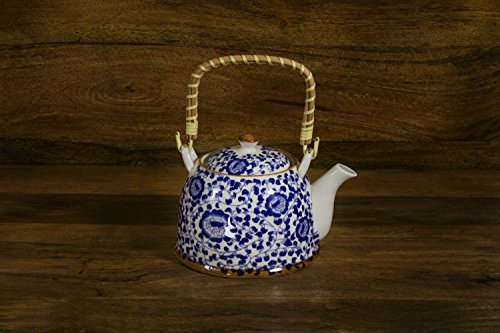 Teapot with Stainless Steel Infuser - Blue and White, Floral Pattern