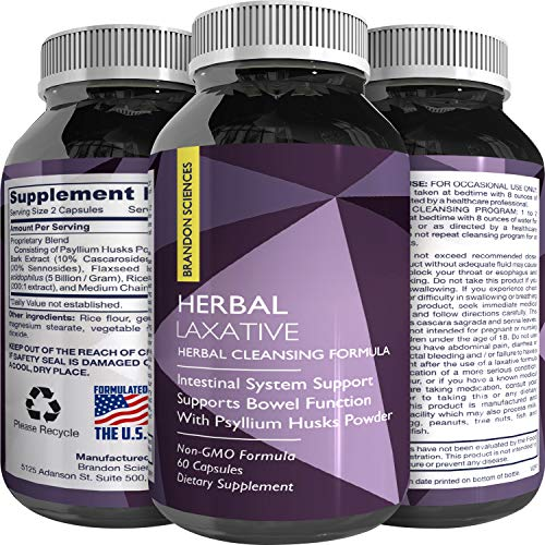 100% Herbal Laxative Capsules + Probiotics - Natural Colon Detox + Digestive Support + System Clean - Psyllium Husk Powder + Senna Leaf + Cascara Sagrada - Triple Herb Cleanse Pills - Brandon Sciences