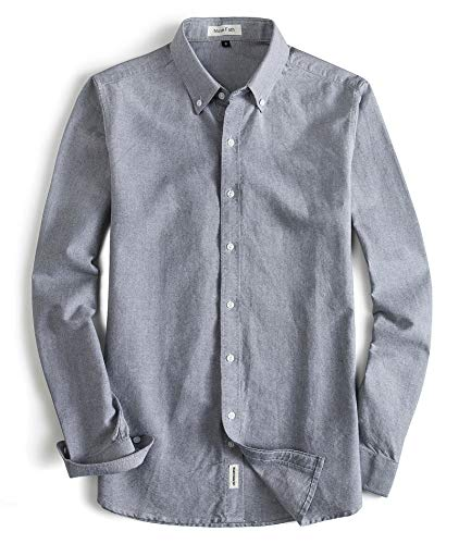 MUSE FATH Men's Oxford Dress Shirt-Cotton Casual Long Sleeve Shirt-Button Down Point Collar Shirt-Light Grey-M (Oxford Cotton Tailored Shirt)
