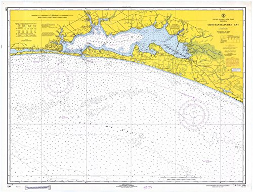 Map | Choctawhatchee Bay, 1968 Nautical NOAA Chart | Florida (FL) | Vintage Wall Art | 59in x 44in