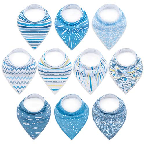 10-Pack Baby Bibs Upsimples Baby Bandana Drool Bibs for Drooling and Teething, 100% Organic Cotton and Super Absorbent Bibs for Baby Boys,Ripple Set