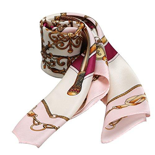 (Fashion Belts Print 100% Silk Scarf Neckerchief 21 X 21 inches (Classic Belts Light Pink))