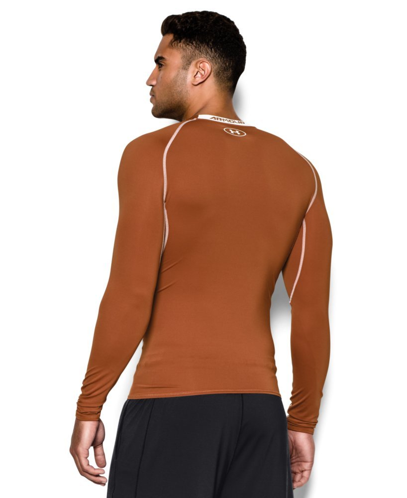 Under Armour Men's HeatGear Long Sleeve Compression Shirt, Texas Orange (875)/White Small by Under Armour (Image #2)