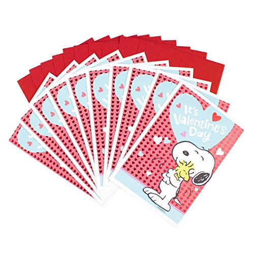 (Hallmark Peanuts Valentines Day Cards Pack, Snoopy and Woodstock (10 Valentine's Day Cards with Envelopes))