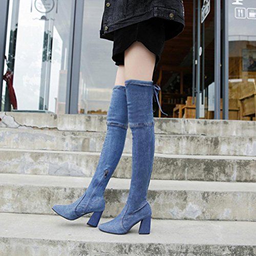 Inkach Womens Thigh High | Over The Knee Boot Shoes | High Heels | Slim Pointed Toe | Winter Boots Blue Qquwa5hfc