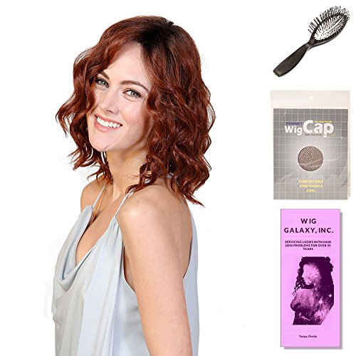 Cappuccino Biscotti ((4 Item Bundle) - (#BT-6038) Biscotti Babe by Belle Tress, Wig Brush, Booklet and a Free Wig Cap Liner. (Cappuccino with Cherry))