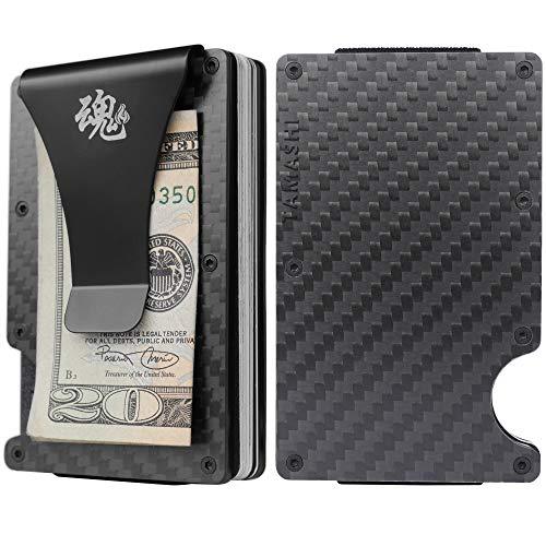Minimalist Carbon Fiber Wallet Anti RFID Aluminium With Metal Money Clip For Men
