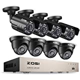 ZOSI 8CH Security Camera System HD-TVI 1080N/720P Video DVR recorder with (8) 1.0MP Bullet/Dome Weatherproof CCTV Cameras NO Hard Drive,Motion Alert, Smartphone, PC Easy Remote Access
