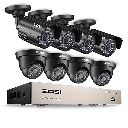 ZOSI 8CH Security Camera System HD-TVI 1080N/720P Video DVR Recorder with (8) 1.0MP Bullet/Dome Weatherproof CCTV Cameras NO Hard Drive,Motion Alert, Smartphone, PC Easy Remote Access -  FBA_ZG2621N-K8+ZR08HF/00