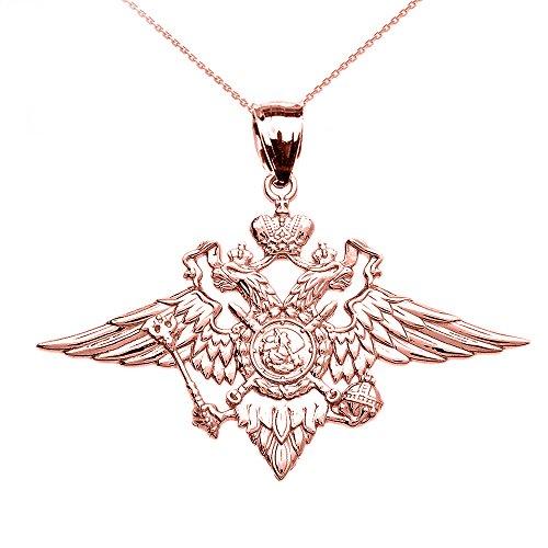 Collier Femme Pendentif 10 Ct Or Rose Double-Tête Aigle Impérial Russe Manteau Des Armes (Livré avec une 45cm Chaîne)