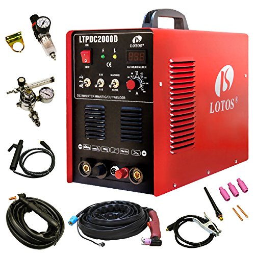Lotos Technology 04-ZVGR-0O8D Lotos LTPDC2000D Plasma Cutter Tig Stick Welder 3 in 1 Combo Welding Machine, 50Amp Non-Touch Pilot Arc Plasma Cutter, 200A TIG/ Stick Welder Dual Voltage 220V/110V by Lotos Technology