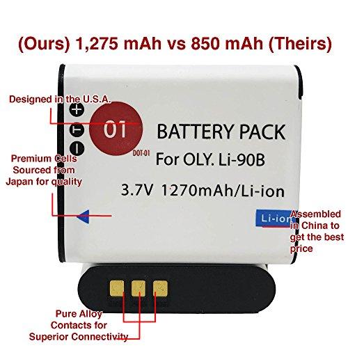 DOT-01 Brand Olympus Tough TG-5 Battery Smart LCD Display Charger Olympus TG-5 Waterproof Camera Olympus TG5 Battery Smart LCD Display Charger Bundle Olympus LI92B LI-92B