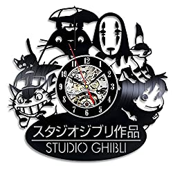 Studio Ghibli Anime Vinyl Record Wall Clock - Decorate your home with Modern Art - Gift for kids, girls and boys - Win a prize for a feedback