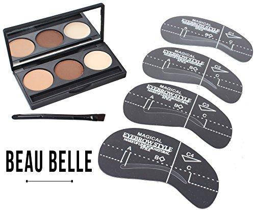 Beau Belle Eyebrow Kit - Augenbrauen Puder - und Schablonen-Set - Eyebrow Set - Wiederverwertbares Augenbrauen-Modellierset in vier verschiedenen Größen für variablen Augenbrauenschwung - Eyebrow Powder