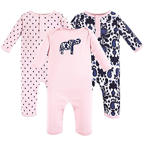 Yoga Sprout Baby Cotton Union Suit, Ikat Elephant 3Pk, 12-18 Months (18M)