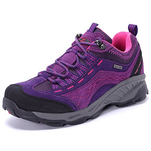 Tfo Women Trekking Hiking Shoes Impermeabile Leggero Da Trekking In Pelle Per Sport Allaria Aperta Dal Rosso Porpora