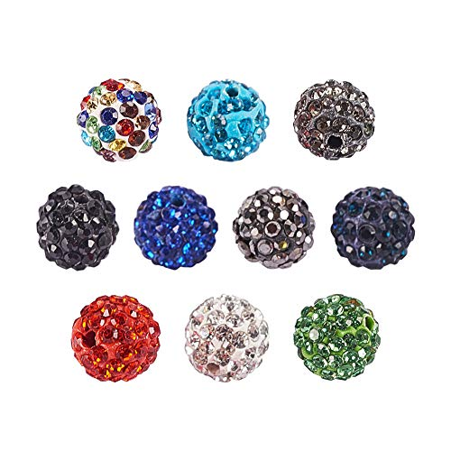 PH PandaHall 10mm 100Pcs Disco Ball Clay Beads Mixed Colors Pave Glass Rhinestones Spacer Round Beads fit Bracelet Necklace ()